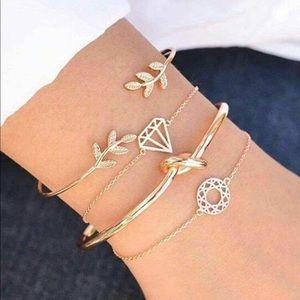 Set of Gold Stacked Bracelets